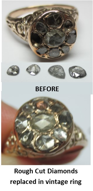 Before and After photos of vintage ring with rough cut diamonds