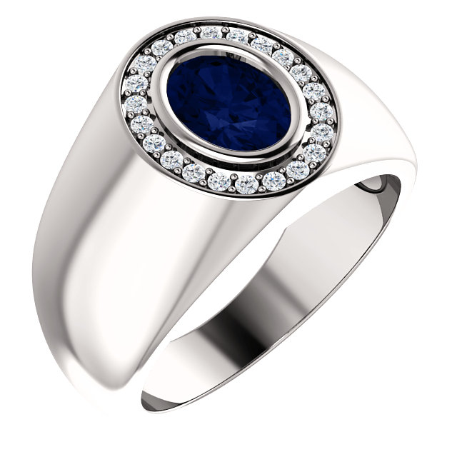 Diamond & Chatham® Created Blue Sapphire Ring