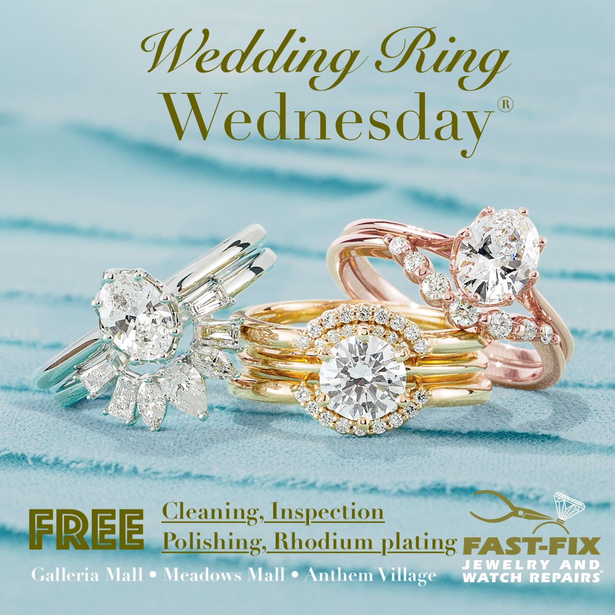 Free Cleaning, Inspection, Polishing and Rhodium plating( white gold only) on wedding rings every Wednesday.