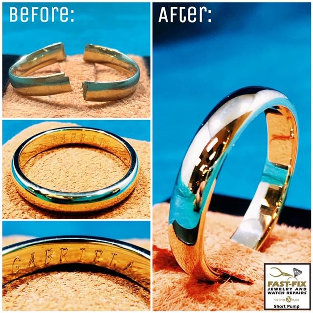 We repaired this gold wedding band that split in half and reengraved the inside
