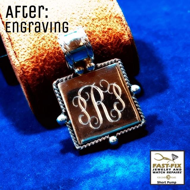 We custom monogrammed this silver pendant