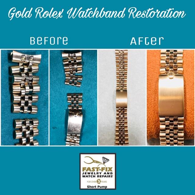 We restored this gold Rolex watch band