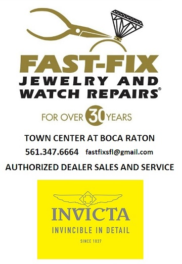 Fast-Fix Jewelry and Watch Repairs in the Town Center at Boca Raton is now an authorized dealer of Invicta Watch sales and service.