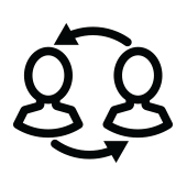 Icon of two blank faces with arrows pointing to each other, to indicate they are sharing information