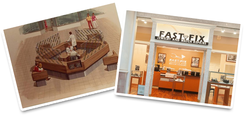 A Fast Fix store location from 1984 and a current Fast Fix store front display